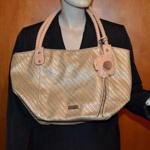Franco Sarto Gold Woven Sparkle Tote Purse Bag